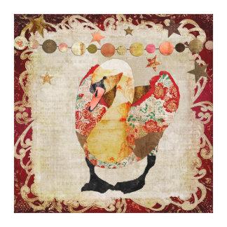 Rose Swan Radiant Red Twilight Canvas Print