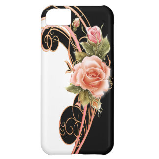 Rose Swirl Pink BW iPhone 5C Covers