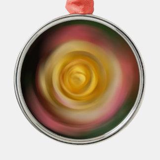 Rose Swirl Silver-Colored Round Decoration