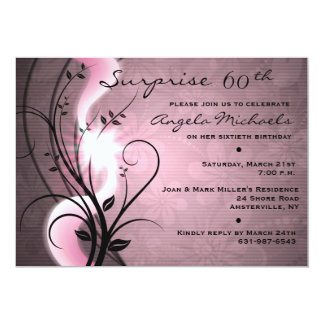 "Rose Swirls Birthday Party Invitation 5"" X 7"" Invitation Card"