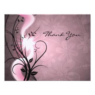 Rose Swirls Flat Thank You Card Invitation