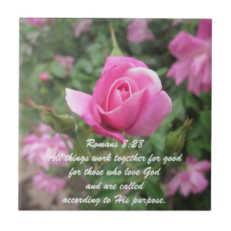 Rose Tile with scripture