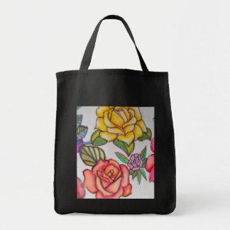 rose tote grocery tote bag