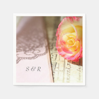 Rose with lace and music disposable napkin