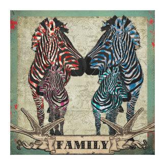 Rose Zebra Family Canvas Art Canvas Print