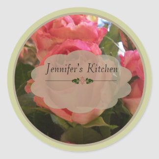 Roses 1 labels round sticker