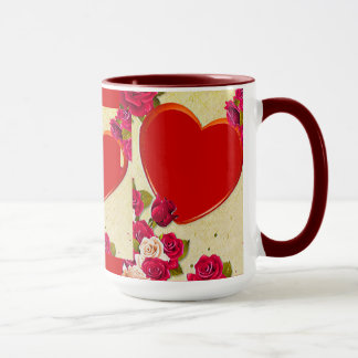 Roses and Heart Frame Add Your Photo Mug
