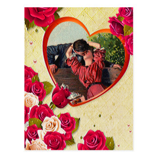 Roses and Heart Frame Add Your Photo Postcard