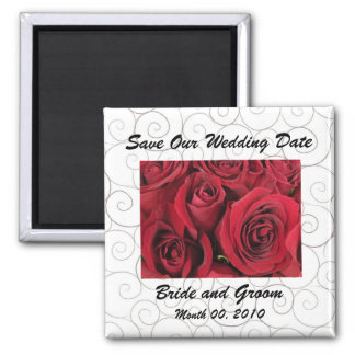 Roses and Swirls Save the Date Magnet
