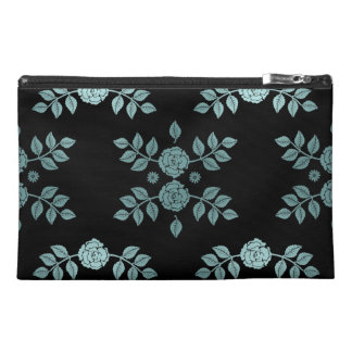 Roses Black and Teal Pattern Travel Accessories Bag