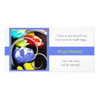 Roses in Abstract Happy Birthday Personalised Photo Card