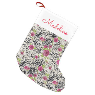 Roses On Animal Pattern | Add Your Name Small Christmas Stocking