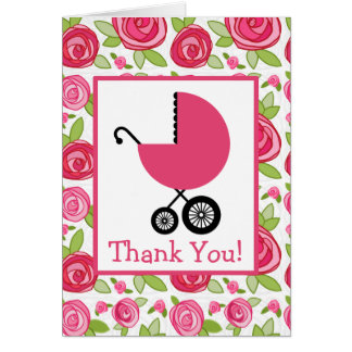 Roses & Pink Carriage Baby Shower Thank You Greeting Card