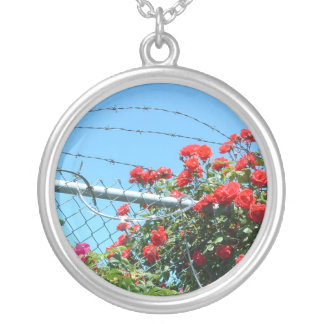 Roses & Razorwire Silver Plated Necklace