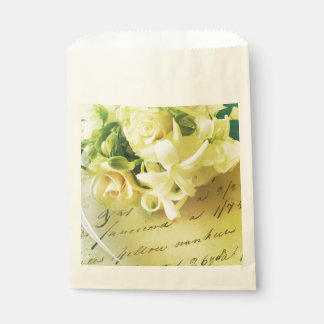 Roses, ribbon, old handwriting favour bags