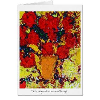 Roses rouges dans un cas d'Ornage Card