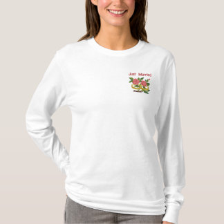 RoseWedRings-Pocket, Just Married Embroidered Long Sleeve T-Shirt