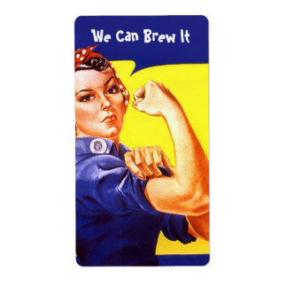 Rosie the Riveter We Can Brew It Homebrew beer Shipping Label