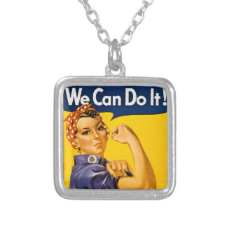 Rosie the Riveter We Can Do It Vintage Square Pendant Necklace