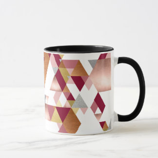 Rosy Metallic Geometric Triangle Mug