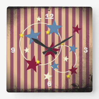 Rosy Vintage Circus Stars and Stripes Square Wall Clocks
