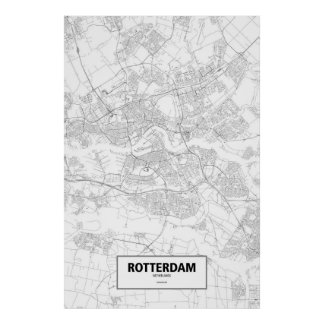 Rotterdam, Netherlands (black on white) Poster