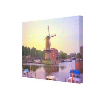 Rotterdam, Schiedam windmill and old harbour Canvas Print
