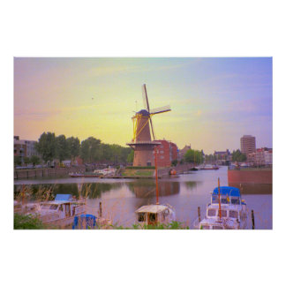 Rotterdam, Schiedam windmill and old harbour Poster