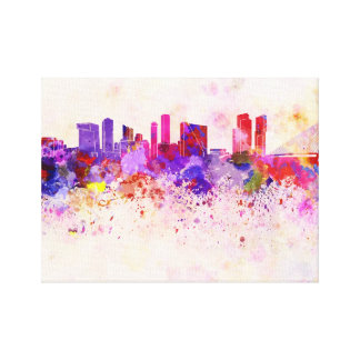 Rotterdam skyline in watercolor background canvas print