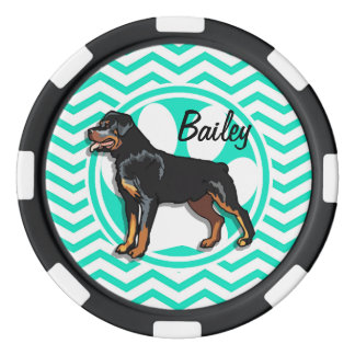 Rottweiler; Aqua Green Chevron Poker Chips