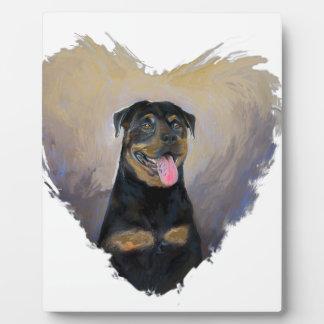 Rottweiler Art, I love Rotties Impressionist Plaque