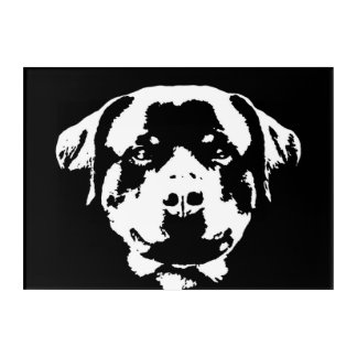 Rottweiler Black & White Acrylic Wall Art