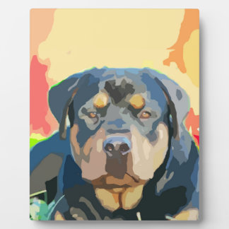 Rottweiler Portrait Painting Plaque