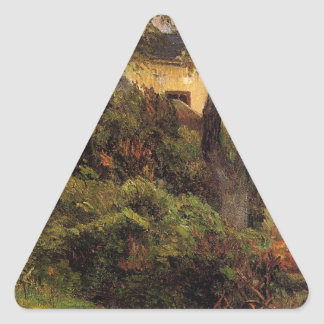 Rouen at spring by Paul Gauguin Triangle Sticker