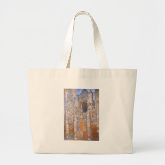 Rouen Cathedral, The Portal at Midday by Claude Large Tote Bag