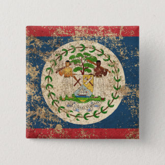 Rough Aged Vintage Belize Flag 15 Cm Square Badge