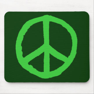 Rough Peace Symbol - Shades of Green Mouse Pad