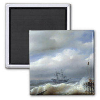 Rough Sea in Stormy Weather, 1846 Square Magnet