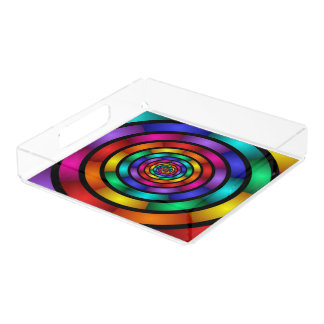 Round and Psychedelic Colorful Modern Fractal Art Acrylic Tray