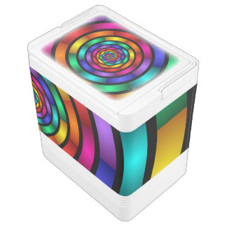 Round and Psychedelic Colorful Modern Fractal Art Chilly Bin