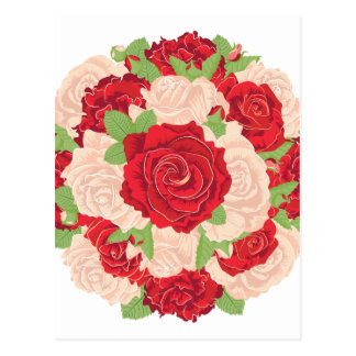Round Bunch of Roses Postcard