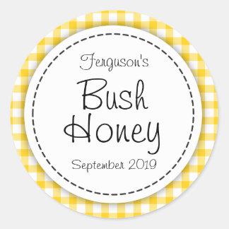 Round Bush honey yellow jam jar top food label
