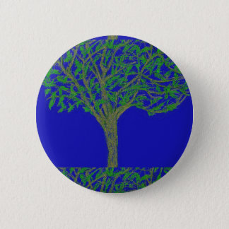 Round Button with Tree and Sky Design