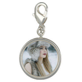 Round Charm, Silver Plated. Snow Queen.
