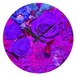 Round clock with multi flower design.