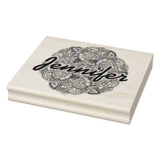 Round Doodle Design Rubber Stamp