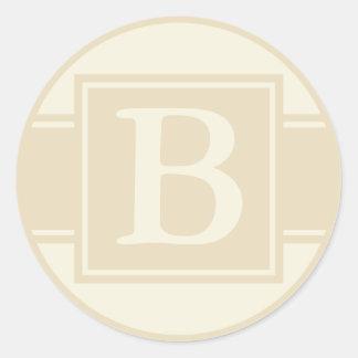 Round Envelope Seals with Monogram - Ecru & Cream Round Sticker