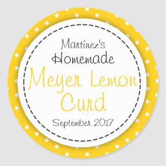 Round Meyer Lemon Curd jam jar food label Round Sticker