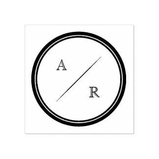 Round Minimalist Initials Monogram Rubber Stamp