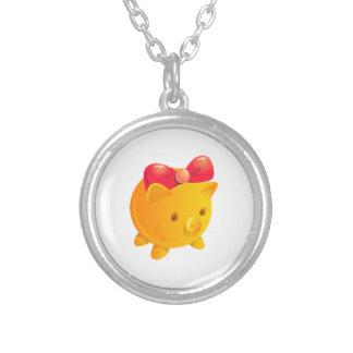 Round Necklace, Lil' Piggy Round Pendant Necklace